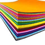 flic-flac 48PCS 8 x 12 inches (20 x 30cm) Assorted Color Felt Fabric Sheets Patchwork Sewing DIY Craft 1mm Thick (20cm 30cm, 48pcs)
