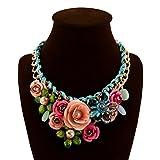 truecharms Women's Rose Necklaces Pendants Transparent Big Resin Crystal Flower Choker Statement Necklace (Multi)