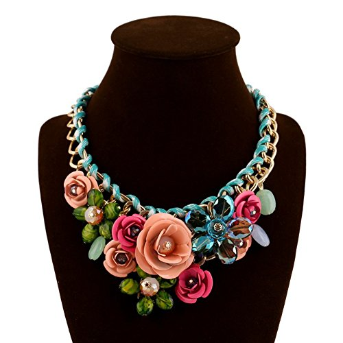 JewelryLove Women's Rose Acrylic Crystal Flower Choker Statement Necklaces Pendants Collier Femme (Multi) (Acrylic Flowers)