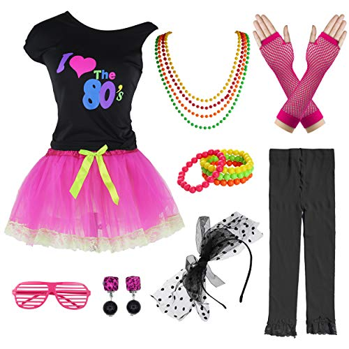 Child Girl 80's Tutu Skirt Party Costume Accessories Set (8-10 Years, Hot Pink)