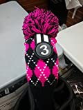 Majek #3 Fairway Metal Wood Argyle Pink & Black Golf Headcover Knit Pom Pom Retro Classic Vintage Head Cover