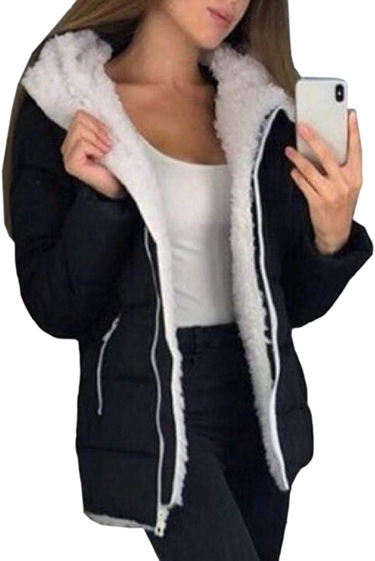 Tralounry Women Fleece Solid Color Hooded Fall Winter Plus Size Mid Long Outwear
