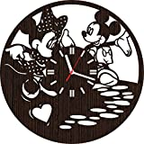 Handmade Wooden Wall Clock Mickey and Minnie Mouse Gifts for Kids Boys Girls Disney Fans | Nursery Home Decor | Birthday Party Decorations | Baby Room | Valentines Day