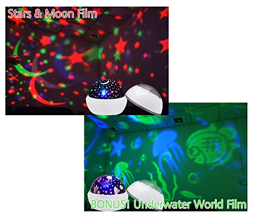 Night Lights for Kids, ZHOPPY Star and Moon Starlight Projector Bedside Lamp for Baby Room Kids Bedroom Decorations - Birthday Gifts for Kid (Black) by ZHOPPY (Image #6)