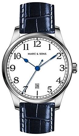 MARC & SONS Marine Automatik Herrenuhr weiß blau Datum - Miyota 9015 - Referenz MSM-008