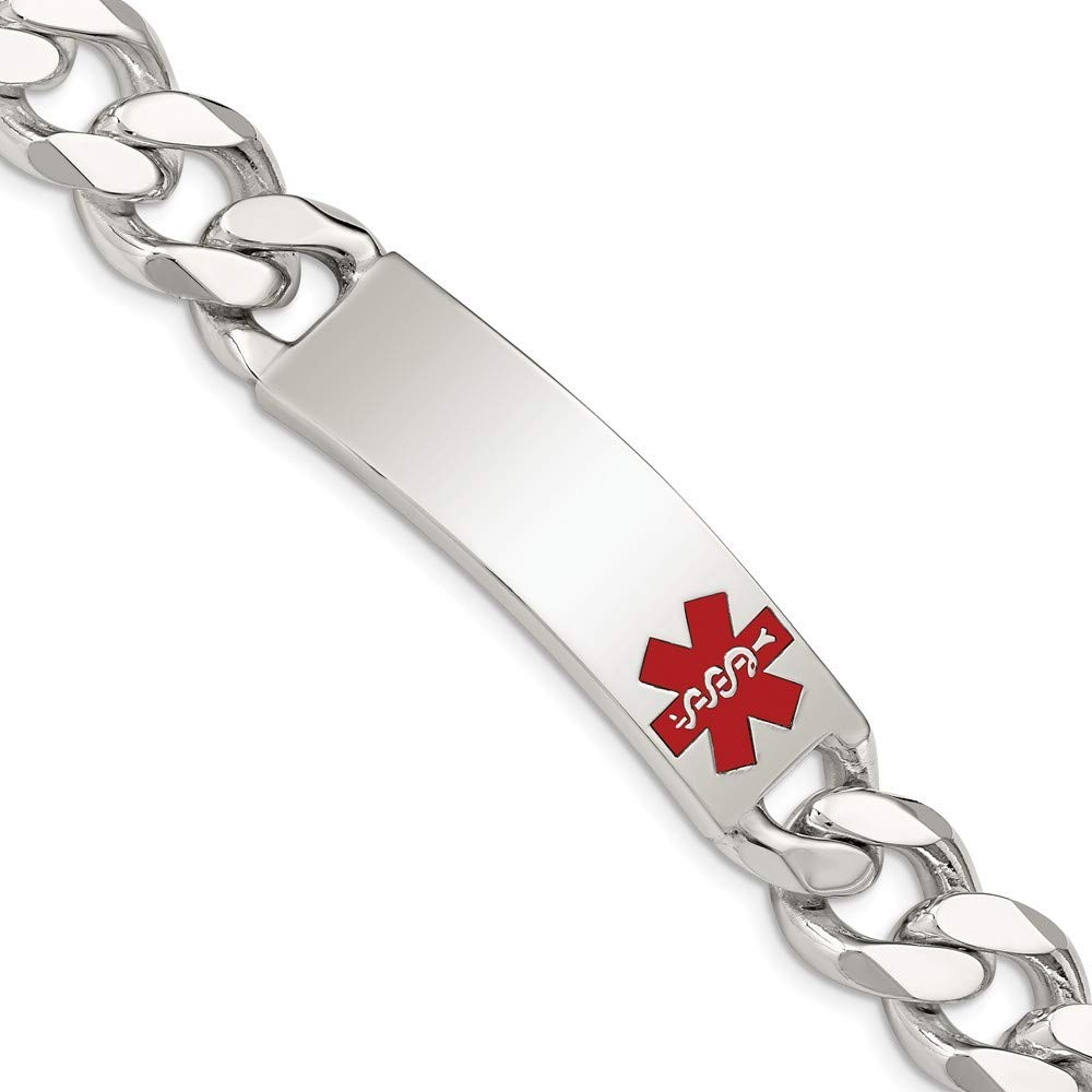 Roy Rose Jewelry Sterling Silver Polished Medical Curb Link ID Bracelet 8.5'' Length by Roy Rose Jewelry