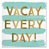 Slant Aqua Blue and White Stripe ''Vacay Every Day'' Paper Beverage Napkins