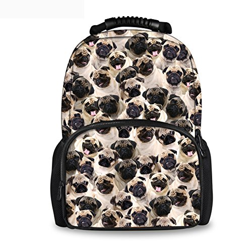 Coloranimal Fashion Pug Dog Backpack Kids Large School Bags Women Felt Backpacks
