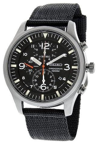 Seiko Men's SNDA57 Black Dial Analog Watch (Chronograph Seiko)
