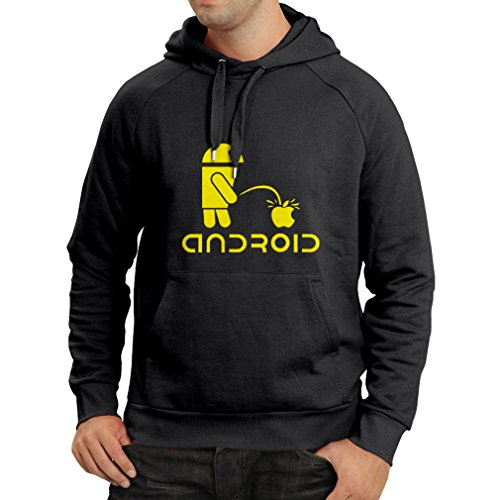 Hoodie The Funny Robot and The Apple - Geek Humorous Gifts (Large Black Yellow)]()