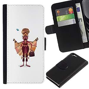 A-type (Sikh Hombre Arte Dibujo India sijismo Vestimenta) Colorida Impresión Funda Cuero Monedero Caja Bolsa Cubierta Caja Piel Card Slots Para Apple (4.7 inches!!!) iPhone 6 / 6S
