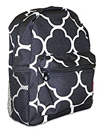 Ever Moda Mini Backpack Black Moroccan Print