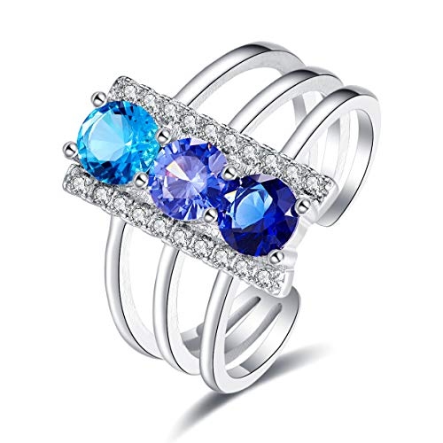 Humasol 925 Sterling Silver Filled Cubic Zirconia Tanzanite Promise Proposal Engagement Wedding Rings for Women Girl Size 7