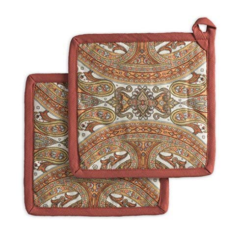 Maison d' Hermine Kashmir Paisley 100% Cotton Set of 2 Pot Holders 8 Inch by 8 Inch. Perfect for Thanksgiving and Christmas by Maison d' Hermine