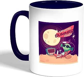 كوب سيراميك للقهوة بتصميم رجل فضائي ، لون ازرق