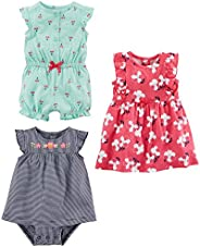 Simple Joys by Carter's baby-girls 3-Pack Romper, Sunsuit and Dress Ro