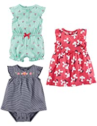 Baby Girls' 3-Pack Romper, Sunsuit and Dress