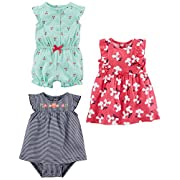Simple Joys by Carter's Girls' 3-Pack Romper, Sunsuit and Dress, Mint Cherries/Navy Stripe/Pink Floral, 0-3 Months