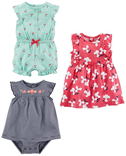 Simple Joys by Carter's Baby Girls' 3-Pack Romper, Sunsuit and Dress, Mint Cherries/Navy Stripe/Pink Floral, 6-9 Months