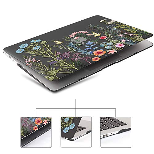 iCasso MacBook Air 11 inch Case Model A1370/A1465, Ultra Slim Pattern Plastic Hard Shell Case Protective Cover Compatible MacBook Air 11'' with Keyboard Cover Screen Protector - Black Weeds