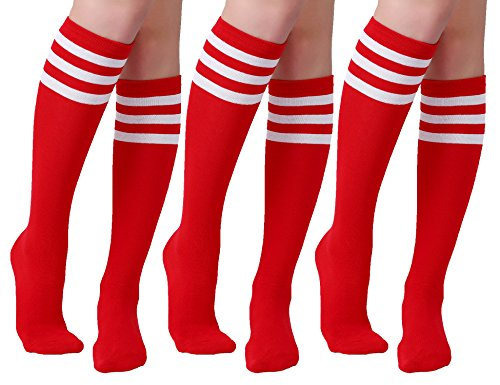 Joulli Women's Stripe Knee High Socks Cotton Tube Cosplay Sock Red
