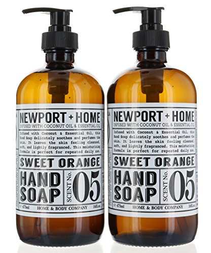 2 Bottles, Newport + Home Hand Soap, Sweet Orange 16 oz/473ml Infused w/Coconut Oil & Essential Oil by Home and Body Co - Sweet Orange Soap