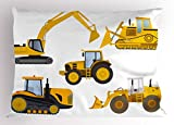 Lunarable Boy's Room Pillow Sham, Animation Inspired Heavy Machinery Drawing Construction Cartoon Bulldozer Print, Decorative Standard Size Printed Pillowcase, 26 X 20 Inches, Yellow