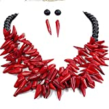 """Ny6design Red Coral & Black Onyx Huge Necklace &Earring 20"""" N18032401f"""