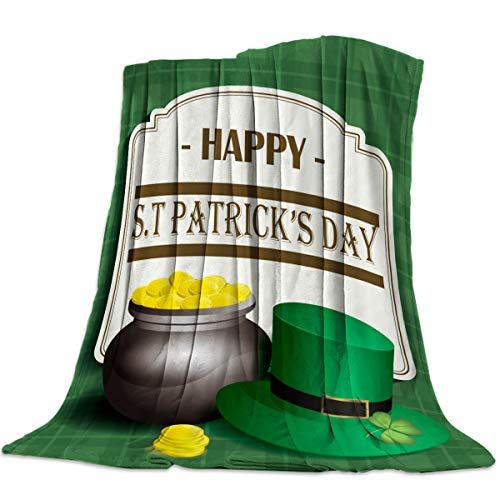 - DaringOne Comfy Plush Fleece Throw Blanket 50x80 inch St. Patrick's Day Soft Coach Blanket Lightweight Stadium Blanket Gold Coins and Leprechaun Hat Buffalo Plaid