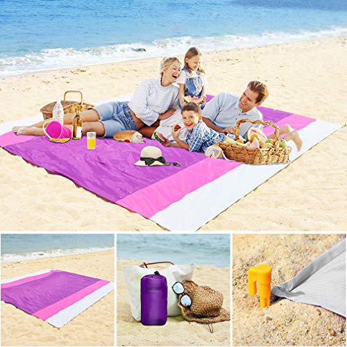 Beach Blanket Sandfree and Waterproof, Extra Large Oversized 10'X9' Outdoor Family Beach Mat for 7 Adults, Soft Quick Drying Picnic Blanket for Travel, Camping, Festival - Come with 4 Stakes and Pouch (Beach Blanket With Stakes)