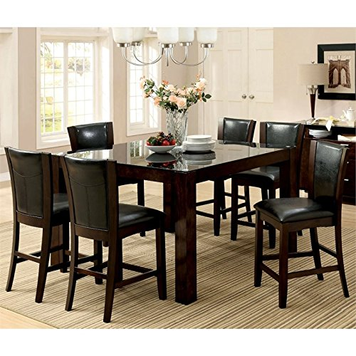 Furniture of America Wagne 7 Piece Counter Height Dining Set