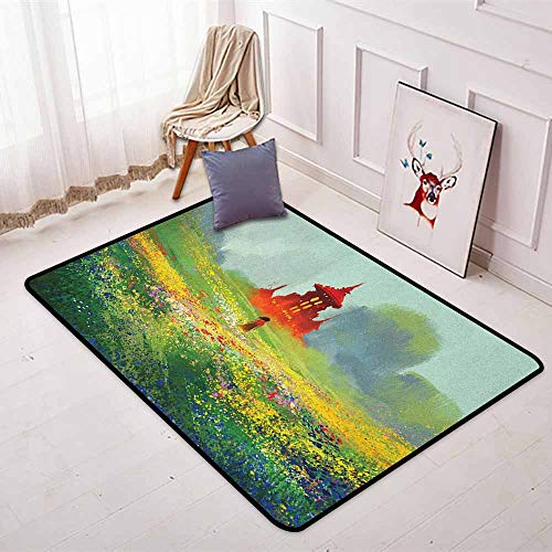 Fantasy Multifunction Lady in Floral Field Meadow to Ancient Red Castle Before Sublime Mountain Artwork Non-Sliding Indoor Carpet W47.2 x L71 Inch Red Green