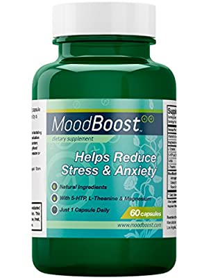 Mood Boost - Natural Supplement for Stress and Anxiety - With 5-HTP, Magnesium, Passion Flower, L-Tyrosine and L-Theanine - 60 Vegetarian Capsules