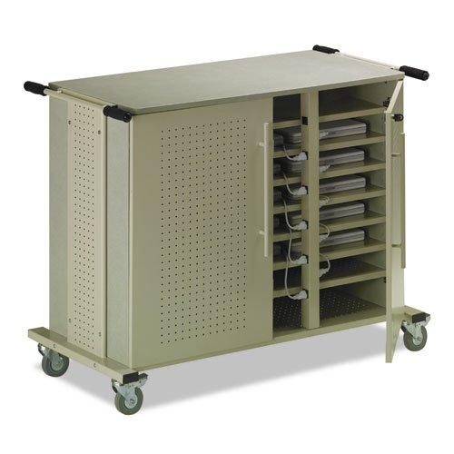 Matrix Sand - Mayline LC1010 Laptop Storage Cart with 24 Compartments and Power, Gray Matrix/Sand