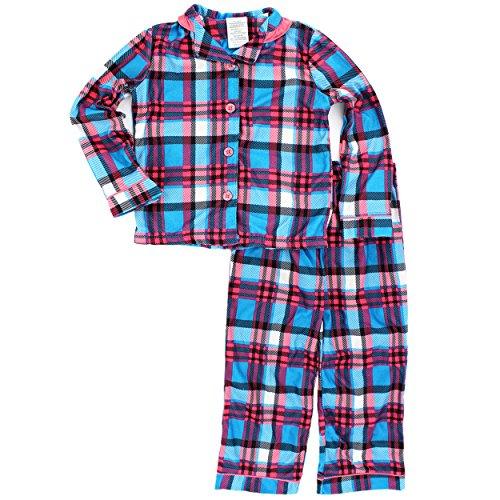 Komar Kids Girls Flannel Coat Style Pajamas (XS (4-5), Blue/Coral Plaid) (Coat Style Pajamas)