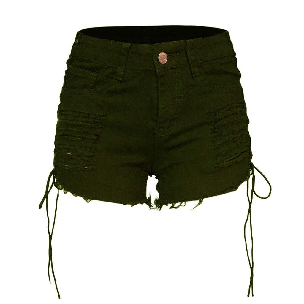 Mujer Rotos Tejanos Pantalones Pantalones De Playa Verano Vendaje Hueco Pantal/ón RISTHY Pantaloens Cortos Mujer,Vaqueros Rotos El/ástico Jeans Corta De Cintura Alta