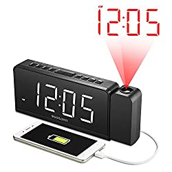 "SHANLONYI Projection Alarm Clock Radio with AM/FM, Time Projector, Mobile Device USB Charging Station, Large 7"" LED Display, Dual Alarm, Battery Backup"