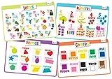 Educational Kids Placemats Learn Spanish - Español: Alphabet/Abecedario, Numbers/Números, Shapes/Formas & Colors/Colores - Non Slip