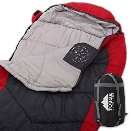 All Season XL Mummy Sleeping Bag with Compression Sack - Perfect for Camping, Hiking, Backpacking & Travel - Big and Tall Sleeping Bag fits Adults up to 66 - Waterproof Large Sleeping Bag