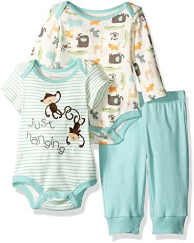 Nannette Baby Boys' 2 Pack Bodysuit and Pant Set with Butt Applique
