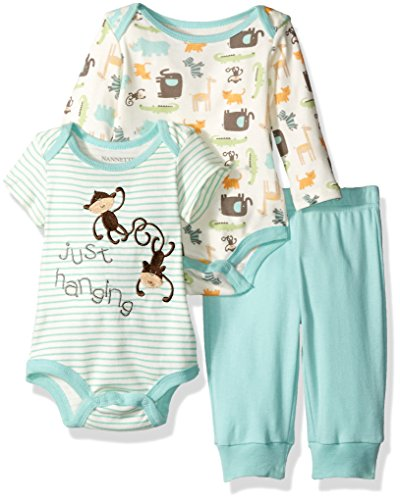 Nannette Boys' 2 Pack Bodysuit and Pant Set with Butt Applique, Animals Green, 6-9 Months