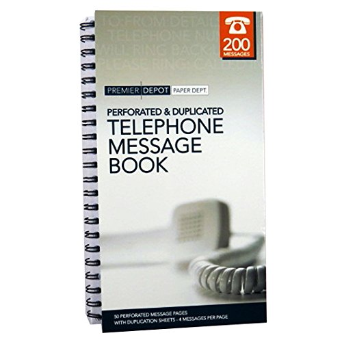 Business Telephone Message Book, Perforated and Duplicated - 200 Messages by Premier Office