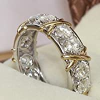 Lovely Ring - Eternity Diamonique 10KT White&Yellow Gold Filled Wedding Band Ring Size8