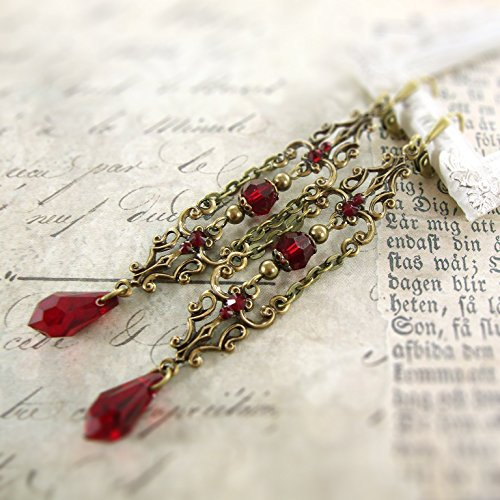 79614ef5f Red Victorian Gothic Swarovski Crystal Extra Long Handmade Vampire Earrings  Antiqued Brass. Loading Images.