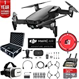 DJI Mavic Air (Onyx Black) Drone Combo 4K Wi-Fi Quadcopter with Remote Controller Deluxe Fly Bundle with Hard Case VR Goggles Landing Pad 64GB microSDXC Card and 1 Year Warranty Extension