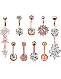 6-8PCS 14G Stainless Steel Belly Button Rings CZ Pineapple Dangling Dangle Navel Ring Body Piercing