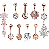 JDXN-68PCS-14G-Stainless-Steel-Belly-Button-Rings-CZ-Pineapple-Dangling-Dangle-Navel-Ring-Body-Piercing-9-PCSS