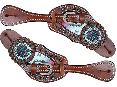 Showman Teal and Pink Navajo Inlay Medium Leather Spur Straps Blue Pink Crystal Conchos Blue Rhinestones