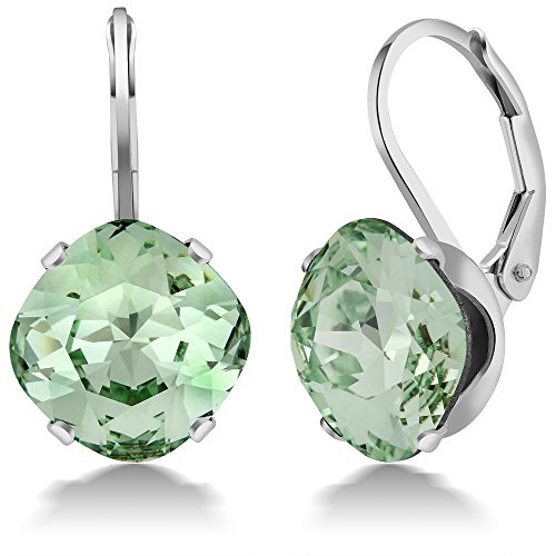 Sterling Silver 10MM Cushion Cut Green Earrings Made with Swarovski Crystals