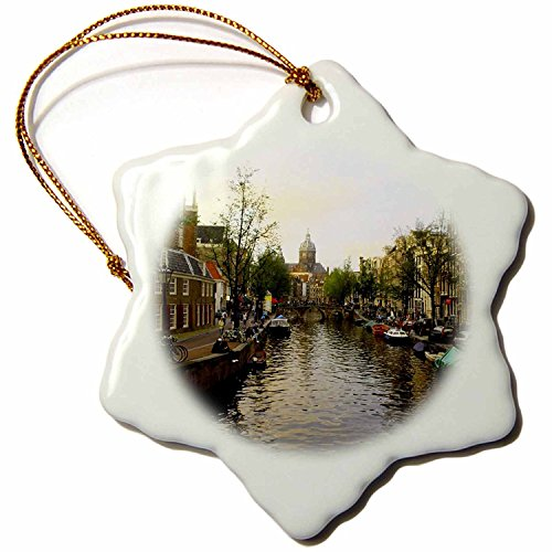 3dRose orn_38331_1 The Sun Setting Over The unique Buildings of Amsterdam Snowflake Decorative Hanging Ornament, Porcelain, 3-Inch